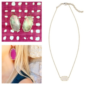 Mother of pearl Danielle earrings, $60. Jade Danielle earrings, $60. White drusy necklace, $65.